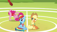 Rainbow and Applejack watch Pinkie have fun S6E18