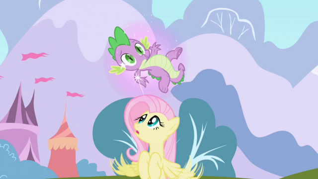 File:Spike caught in Twilight's magic aura S1E01.png