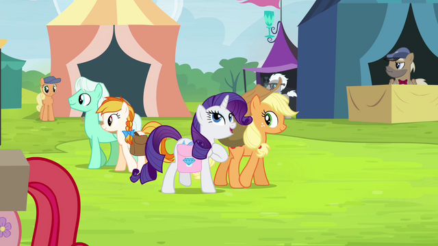 File:Applejack and Rarity walking together S4E22.png