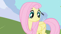 Fluttershy stares at ground before mumbling name S1E01