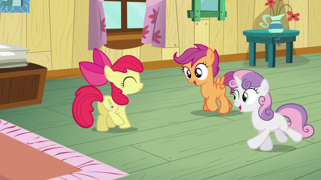 File:Sweetie and Scootaloo excited about Apple Bloom's cutie mark S5E4.png