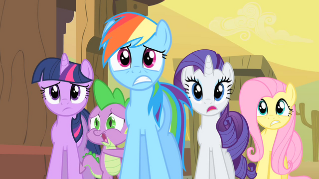 File:Twilight, Rainbow Dash, Rarity, Fluttershy, Spike Worried S1E21.png