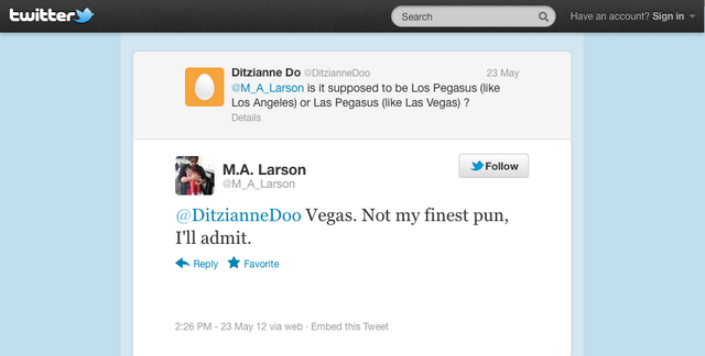 File:M.A. Larson discussing Las Pegasus on Twitter 2012-05-23.png
