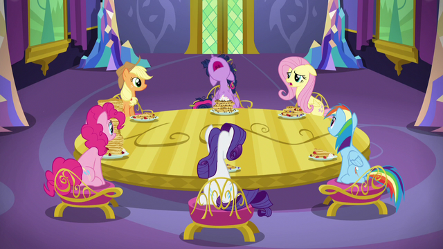 File:Mane Six sitting around dining room table S5E3.png