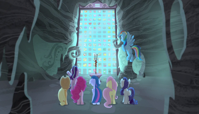 File:Mane six and Starlight facing the cutie mark vault S5E1.png