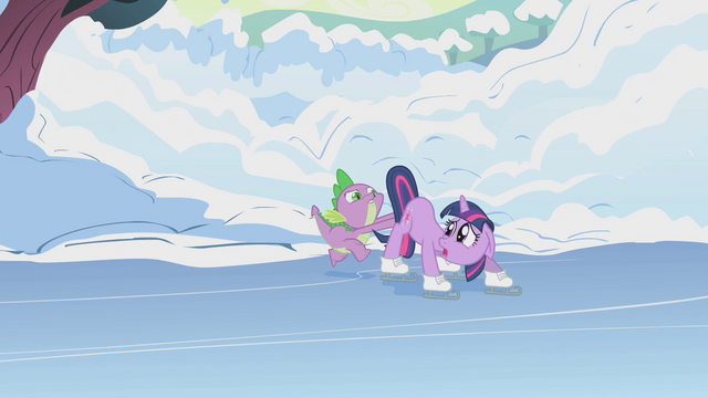File:Spike pushes Twilight onto the ice S1E11.png