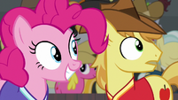 Braeburn and Pinkie looking at Pinkie's shot S6E18