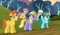 Derpy landing 2 wearing goggles wrong way S2E22.png