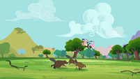Fluttershy being carried by birds S3E05