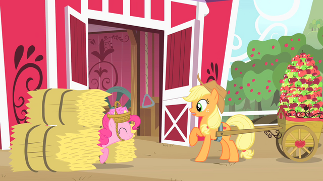 File:Pinkie Pie shows up from between the hay bales S1E25.png