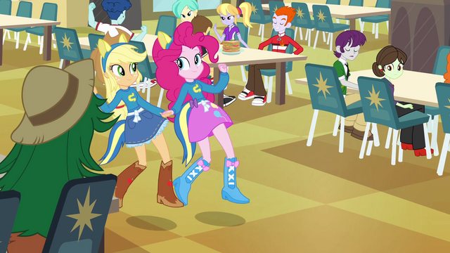 File:Applejack and Pinkie Pie holding hands EG.png