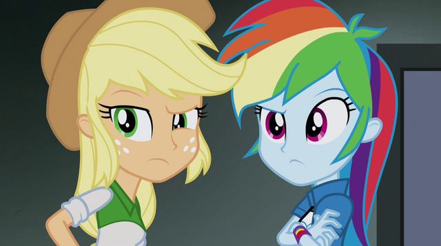 File:Applejack and Rainbow hear Trixie's voice EG2.png