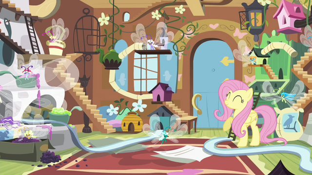 File:Fluttershy and Breezies having a party S4E16.png