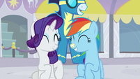Rarity and Rainbow smiling S5E15