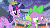 Twilight encouraging Spike S4E24