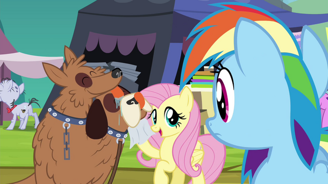 File:Fluttershy wiping orthros' drool S4E22.png