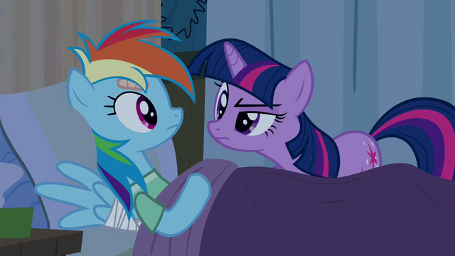 "File:Twilight scrutinizes ""sleeping"" Rainbow Dash S2E16.png"