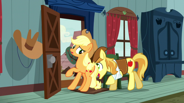 File:Braeburn pushing Applejack out the door S5E6.png