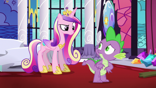 File:Cadance looking sternly at Spike S5E10.png