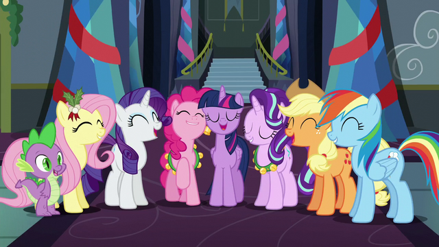 File:Mane Six, Starlight, and Spike singing together S6E8.png
