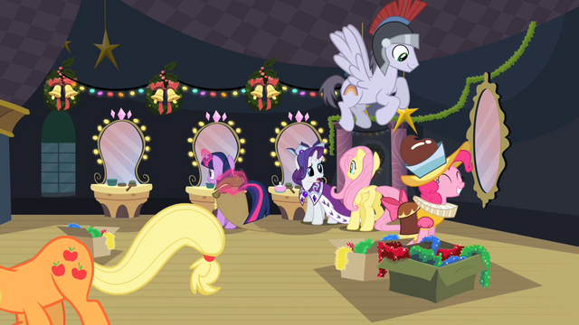 File:Ponies preparing backstage S2E11.png