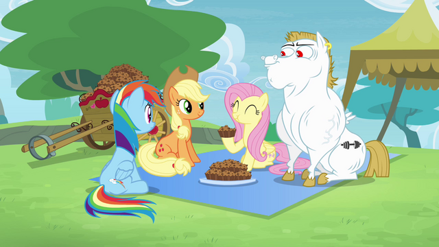 File:Rainbow, Applejack, Fluttershy and Bulk together S4E10.png