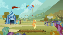 Rainbow Dash flying during the tug of war S1E13