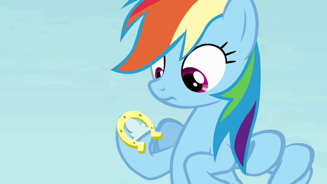 File:Rainbow with a horseshoe on her hoof S4E10.png