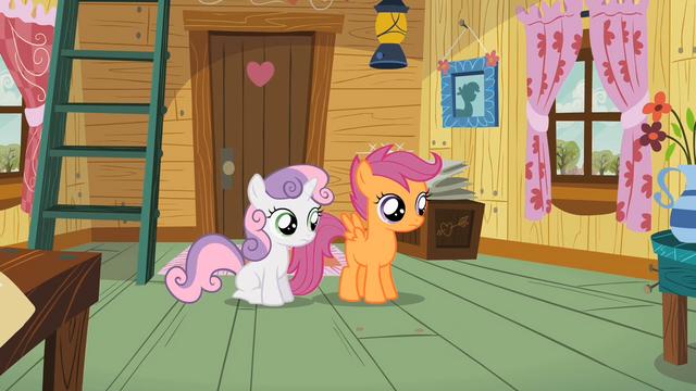 File:Sweetie Belle & Scootaloo hear Apple Bloom S2E12.png