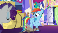 Rainbow halfheartedly compliments Fluttershy S5E3
