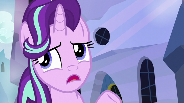 "File:Starlight mentions Sunburst's ""important wizard work"" S6E1.png"