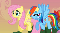 Happy Fluttershy and mad Rainbow Dash S2E15
