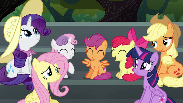 File:Main four and CMC amused by Pinkie's antics S6E7.png