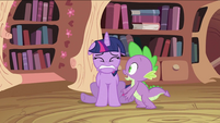 Spike with scared Twilight Sparkle S2E03