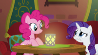 Rarity nervously approaches Pinkie's table S6E12