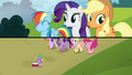 A panel appears showing Rainbow, Rarity, and AJ singing S5E26.png