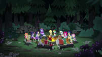Campers gathered around the campfire EG4