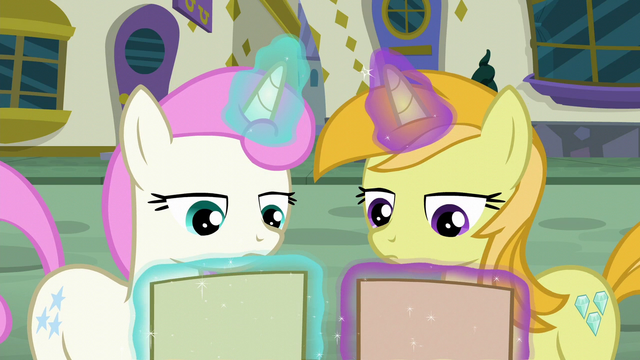 File:Twinkleshine and unicorn mare look at Tasty Treat flyer S6E12.png