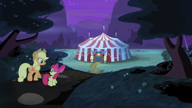 File:AJ and Apple Bloom walking back to Flim and Flam's tent S4E20.png