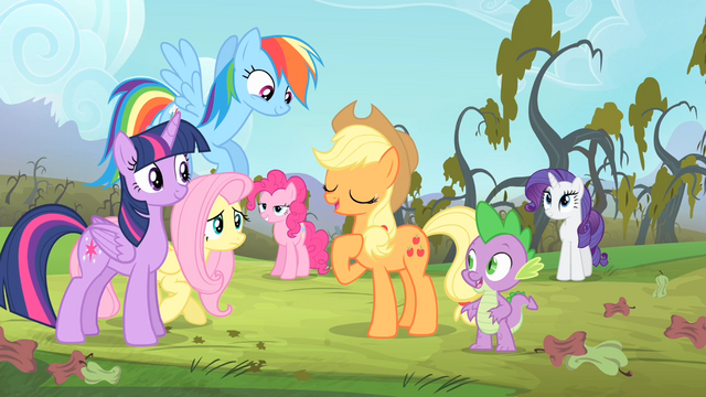 File:Applejack thanks Fluttershy for her help S4E07.png
