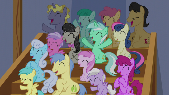 File:Audience of ponies cheering for Tender Taps S6E4.png