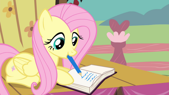 File:Fluttershy writing on the journal S4E14.png