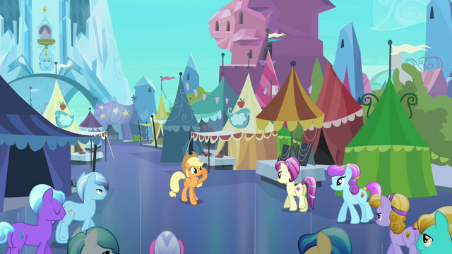 File:Applejack welcomes Crystal Ponies to the Faire S3E01.png