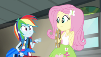Rainbow waving her hand at Fluttershy EG2