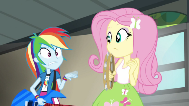 File:Rainbow waving her hand at Fluttershy EG2.png
