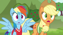 Rainbow and Applejack shocked by Snails S6E18
