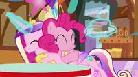 Princess Cadance hugging Pinkie Pie S5E19