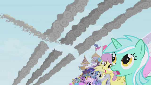 File:The crowd sees Rainbow Dash fly by S1E03.png