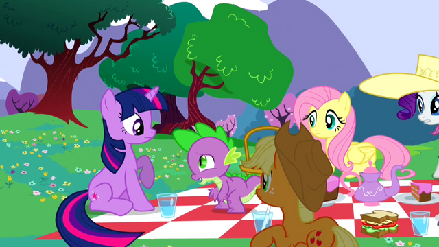 File:Ponies looking at Spike S2E25.png