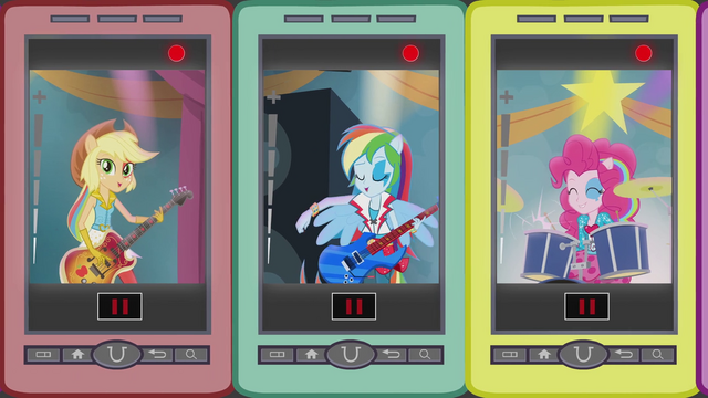 File:Applejack, Rainbow, and Pinkie singing on phones EG2.png